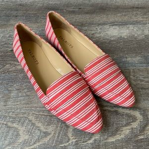 Talbots Red & White Striped Loafers Size 8
